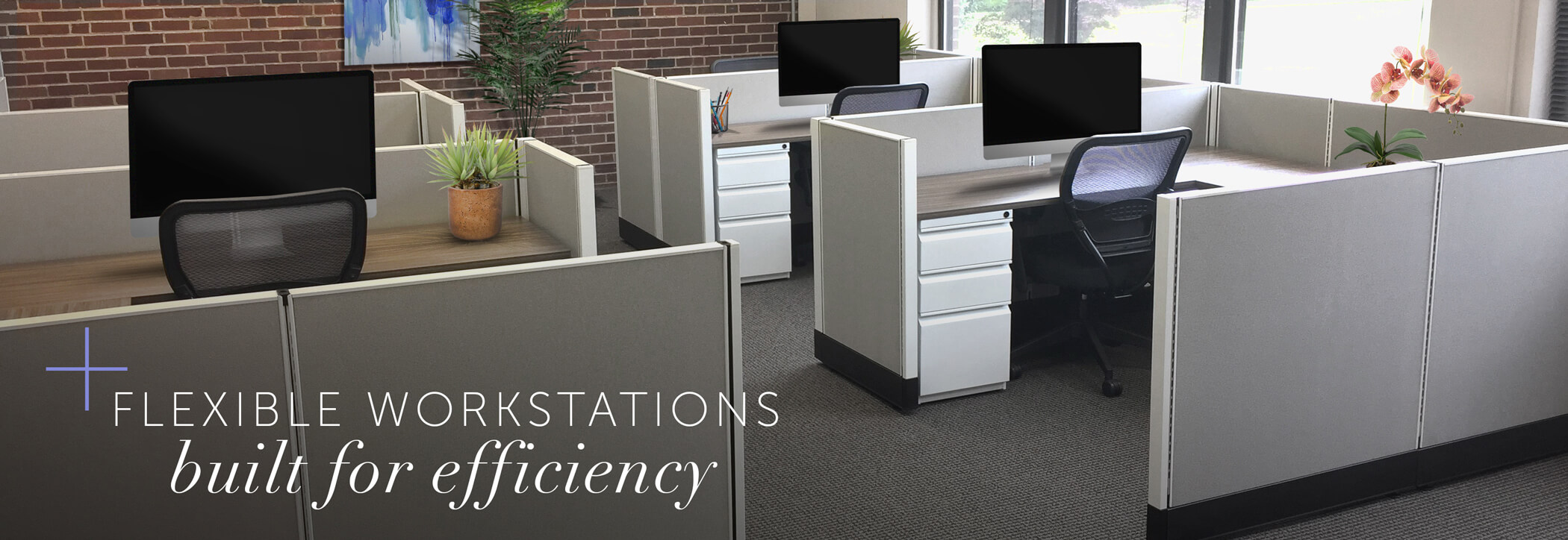 Rented cubicle office space with words 'flexible workstations built for efficiency'