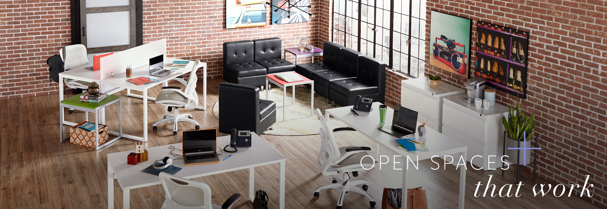 Open office space with rented furniture with words 'open spaces that work'